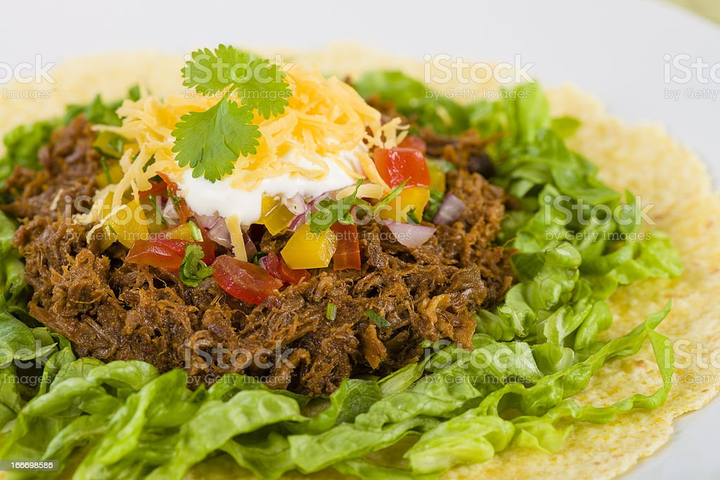 Mexican Shredded Beef Tacos stock photo