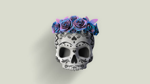 mexican skull 3D illustration, mexican skull with blue roses. Day of the dead Mexican holiday. human skull stock pictures, royalty-free photos & images