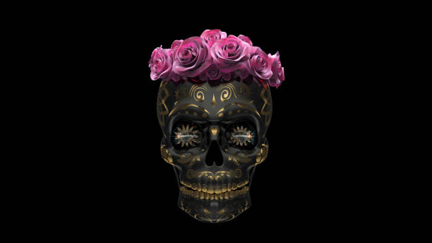 mexican skull 3d illustration, mexican skull iridescence  metal with roses on pink background. Day of the dead Mexican holiday. human skull stock pictures, royalty-free photos & images