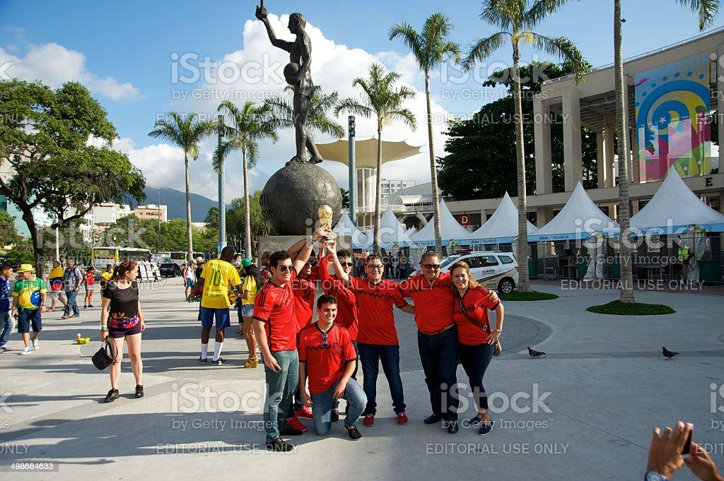 Mexican soccer fans at the Maracana stadium royalty-free stock photo
