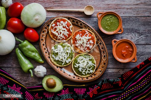Mexican sopes with grated cheese and salsa, Traditional breakfast in Mexico
