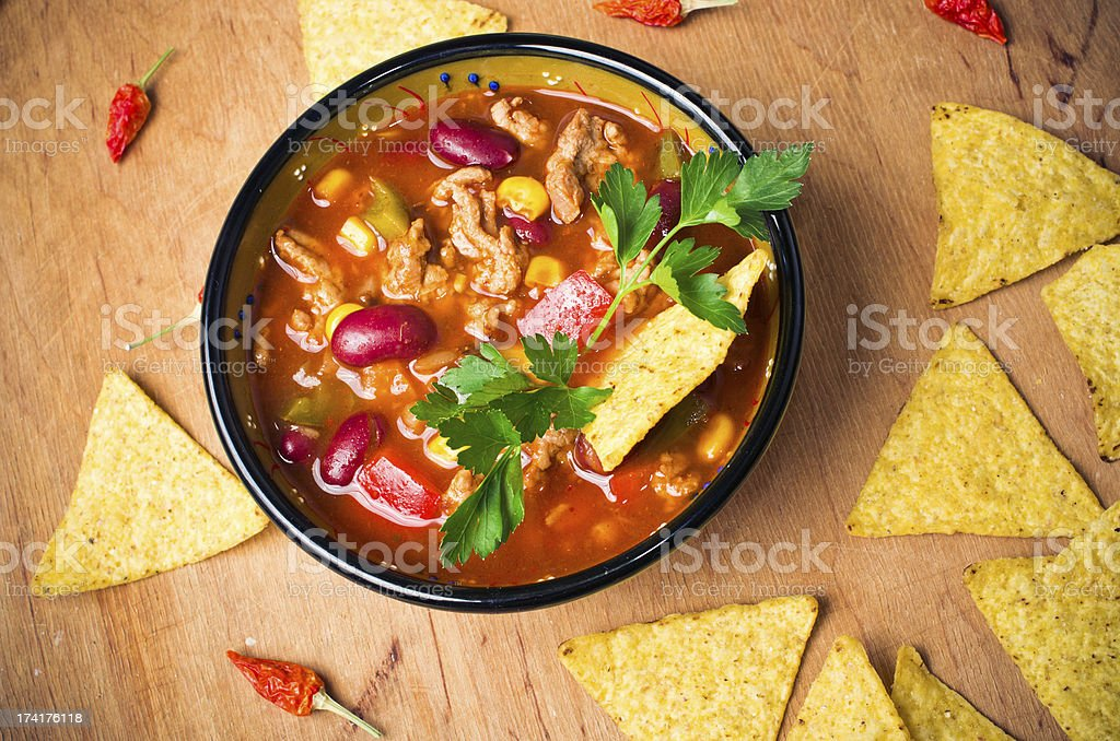 Mexican soup with tacos stock photo