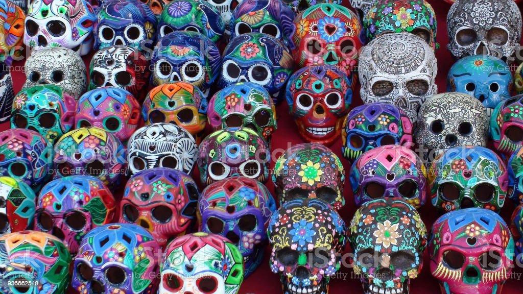 mexican souvenir colorful skulls view in yucatan mexico stock photo