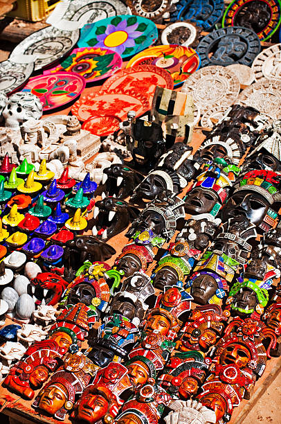 Mexican souvenirs Mexican crafts in a tourist giftshop el tajin stock pictures, royalty-free photos & images