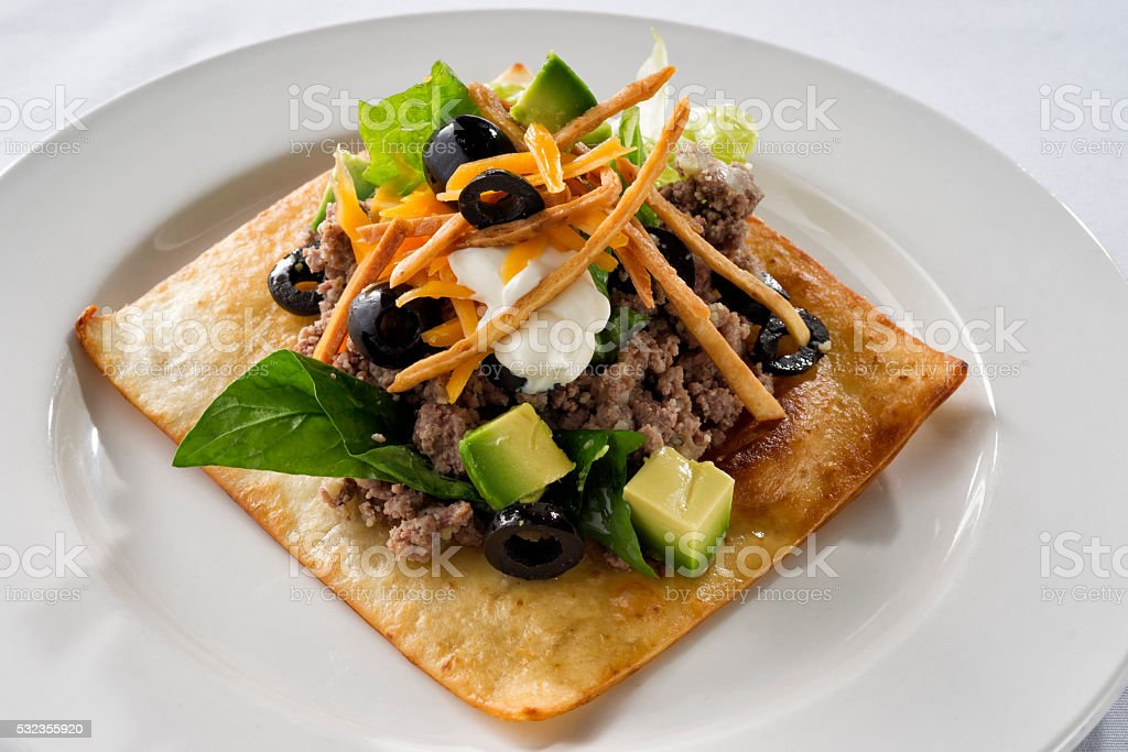 Mexican Square Tostada stock photo