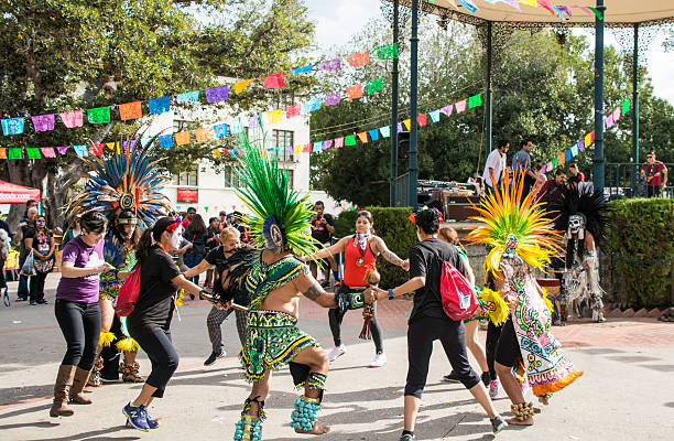 Mexican Street Dancing - El Pueblo Los Angeles stock photo