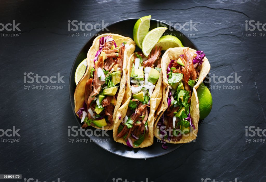 mexican street tacos flat lay composition stock photo