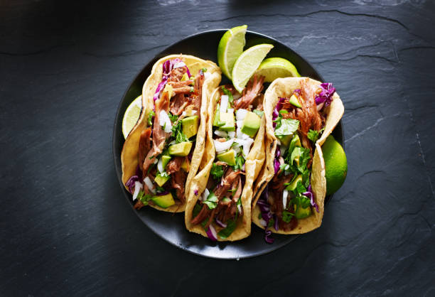 mexican street tacos flat lay composition - mexican food stock photos and pictures