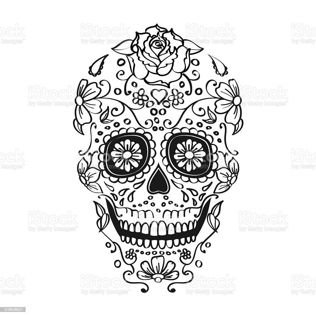 mexican sugar skull illustration stock photo