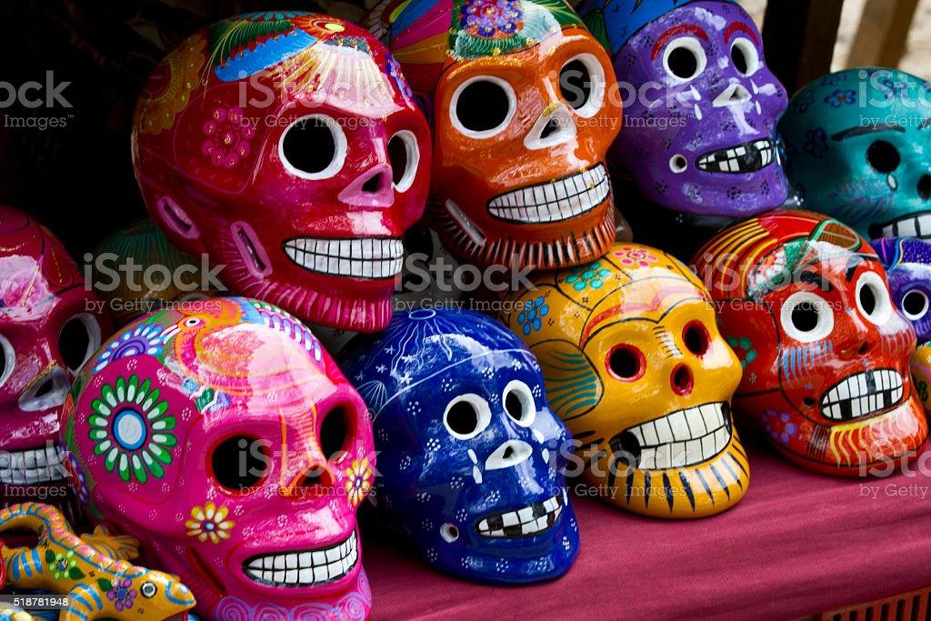 Mexican sugar skull souvenirs stock photo