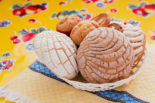 Mexican Sweet bread assorted in Mexico, traditional breakfast bakery