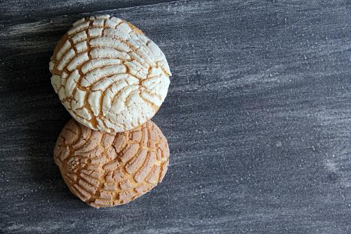Mexican sweet bread, vanilla shell, chocolate shell