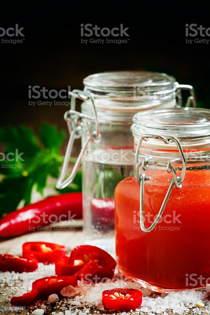 Mexican Tabasco hot sauce with red pepper, vinegar and salt stock photo