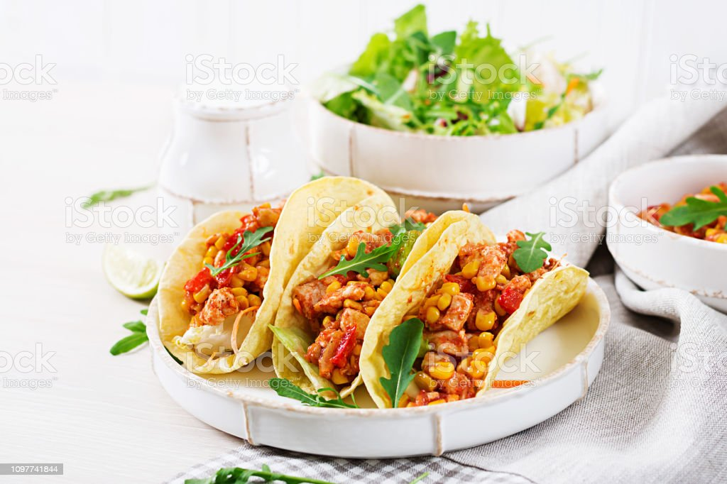 Mexican Tacos With Chicken Meat Corn And Tomato Sauce Latin American Cuisine Taco Tortilla Wrap Stock Photo Download Image Now Istock