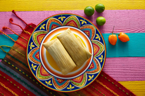 Mexican Tamale tamales of corn leaves stock photo