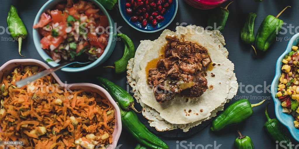 Mexican tex mex dinner food photography stock photo