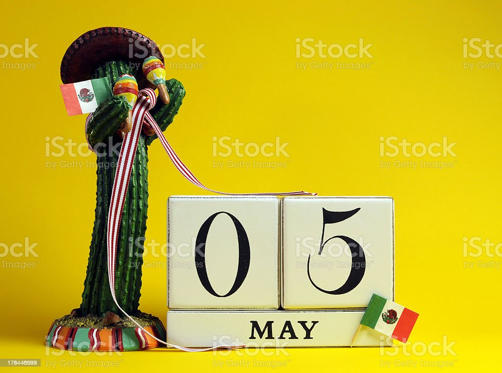 Mexican theme Save the Date calendar for Cinco de Mayo. stock photo