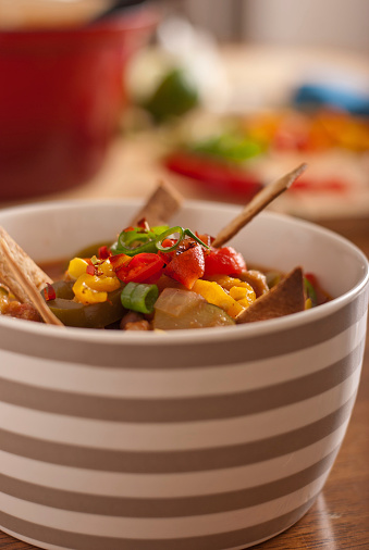 Magnificent Mexican Tortilla Soup On Kitchen Bench Stock Photo Ocoug Best Dining Table And Chair Ideas Images Ocougorg