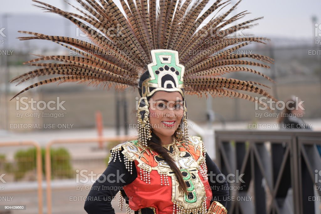 Mexican Tourist Guide in Aztec Costume stock photo