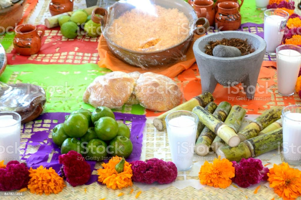 Mexican traditional day of the dead altar stock photo