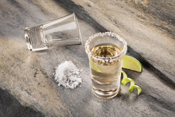 bebida tradicional mexicana acompañado con limón y sal - mezcal fotografías e imágenes de stock