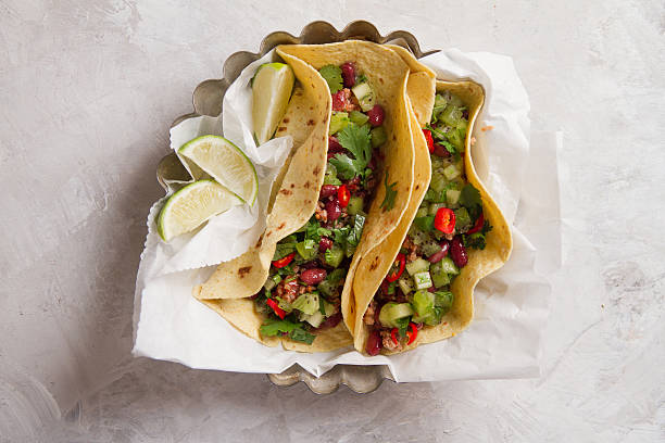 Mexican vegetarian tacos stock photo