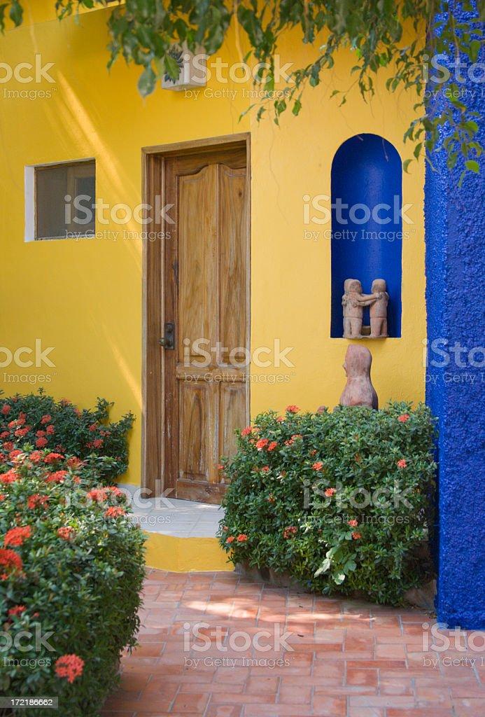 Mexican Villa Yellow Blue Stucco Wooden Door Hibiscus Bushes Stock ...