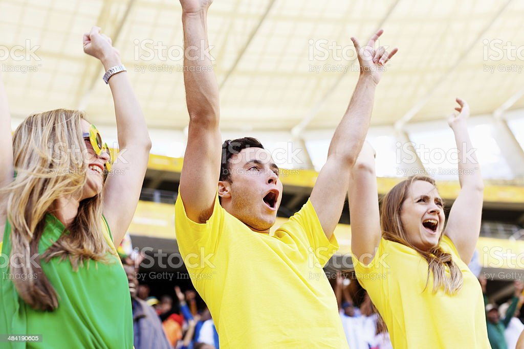 Mexican wave from group of excited Brazilian soccer fans stock photo