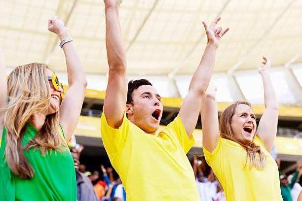 mexican wave von gruppe von glücklich brasilianischen fußball-fans - spielerfrauen stock-fotos und bilder