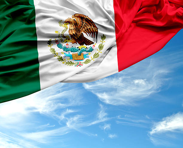 agitando bandera mexicana en día maravilloso - bandera mexico fotografías e imágenes de stock