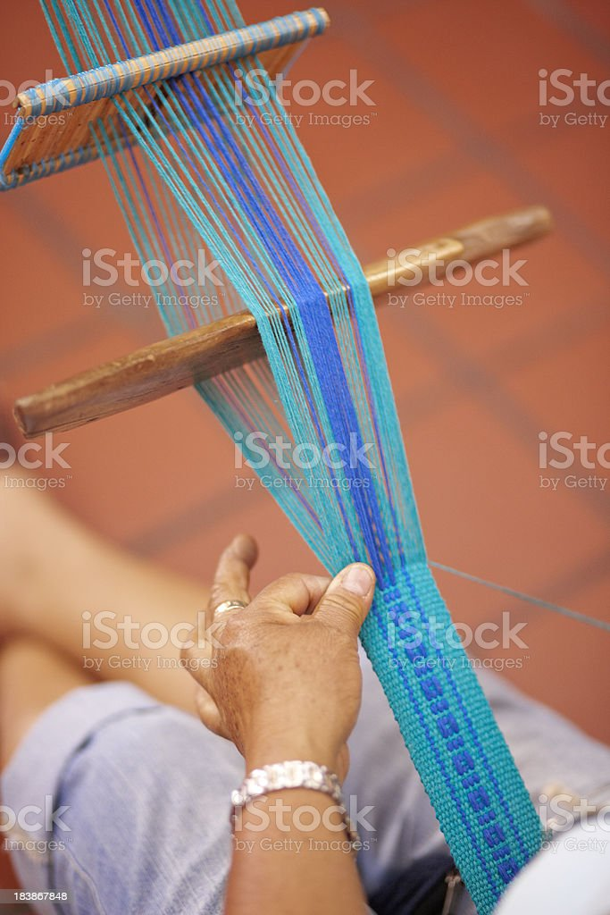 Mexican Woman Weaving at Loom, Mexico royalty-free stock photo