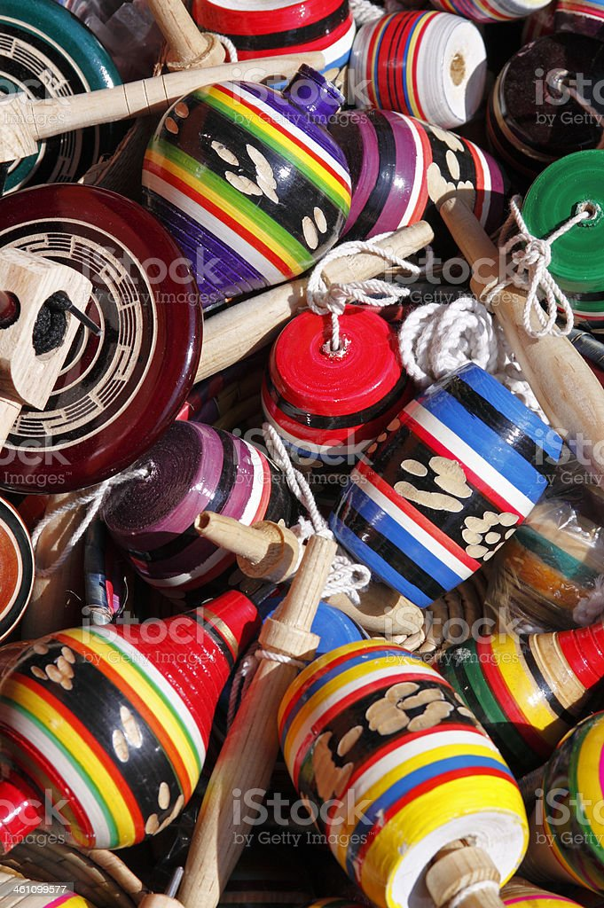 Mexican wooden toys stock photo