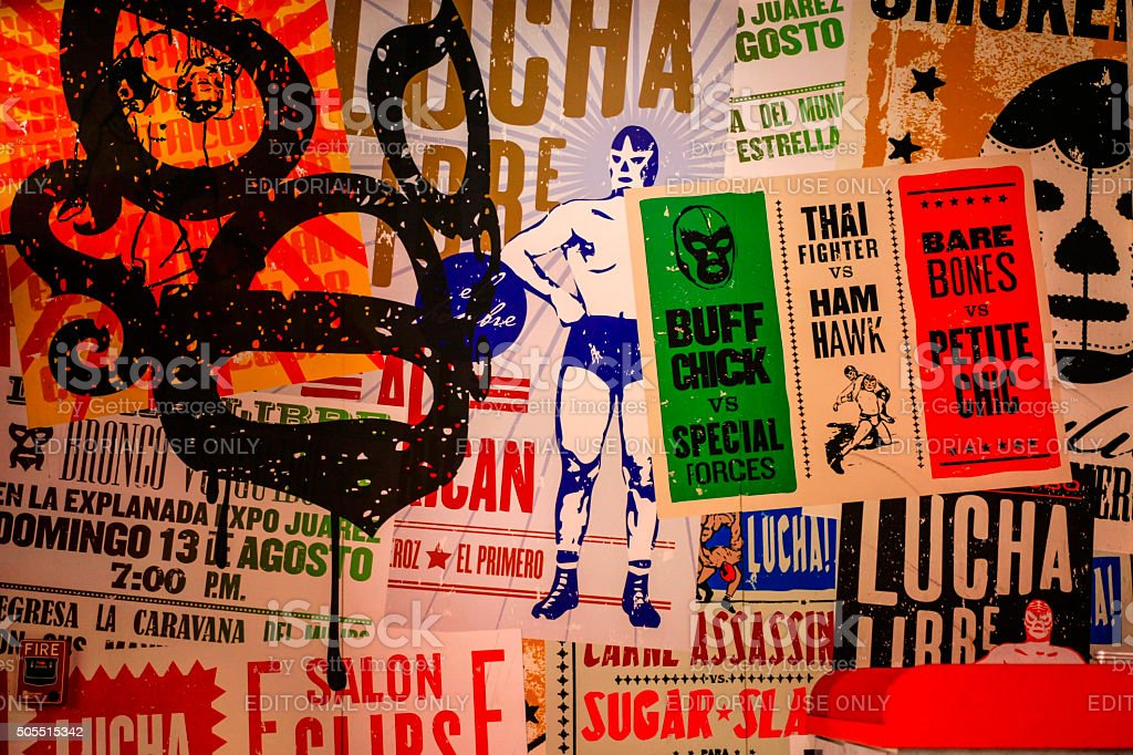 Mexican wrestling posters stock photo