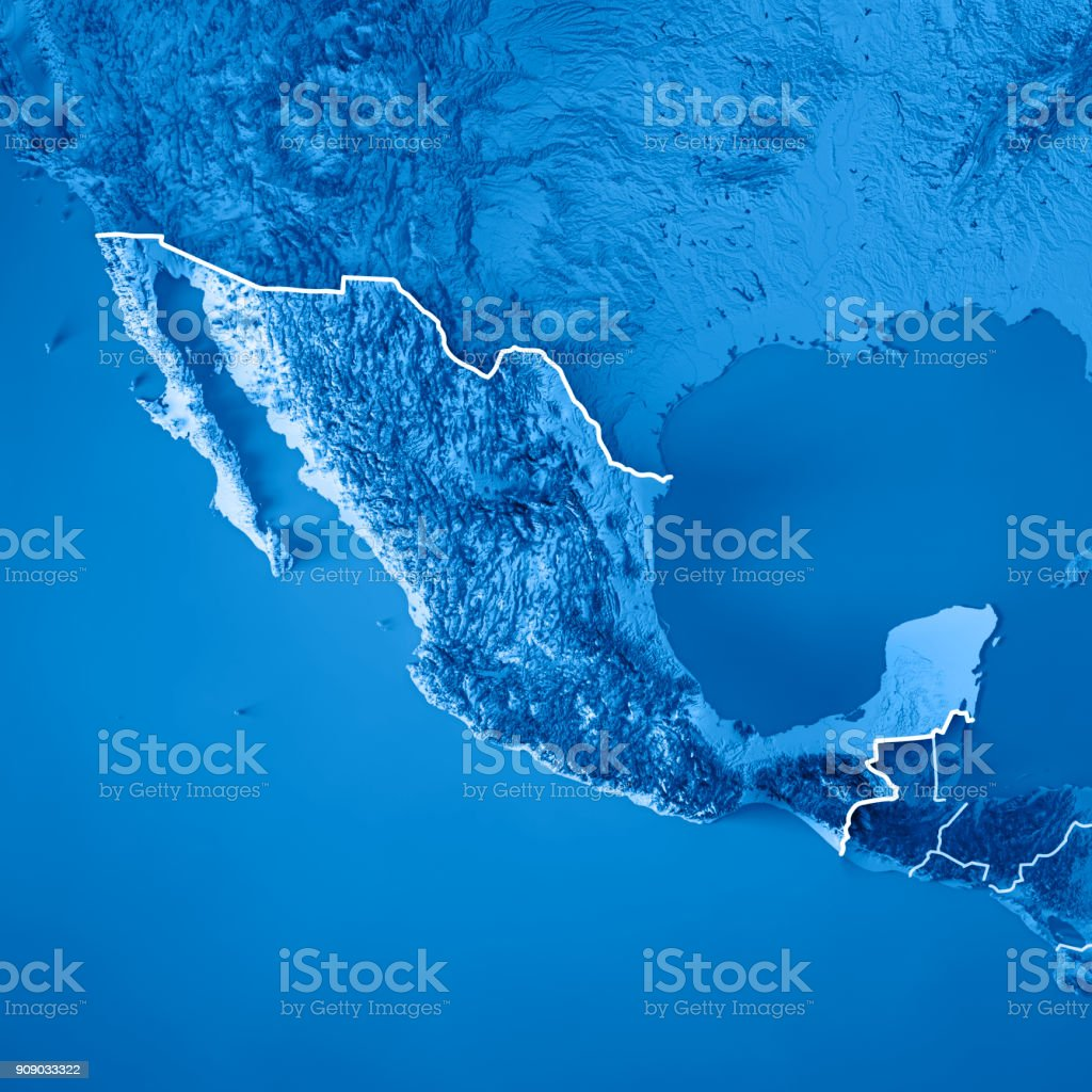 Mexico 3d Render Topographic Map Blue Border Stock Photo ...