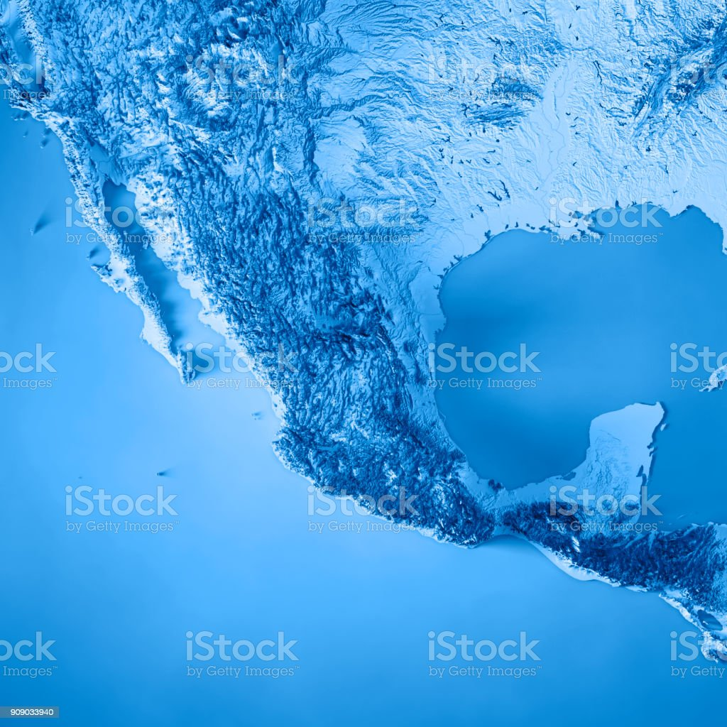 Mexico 3d Render Topographic Map Blue Stock Photo - Download ...