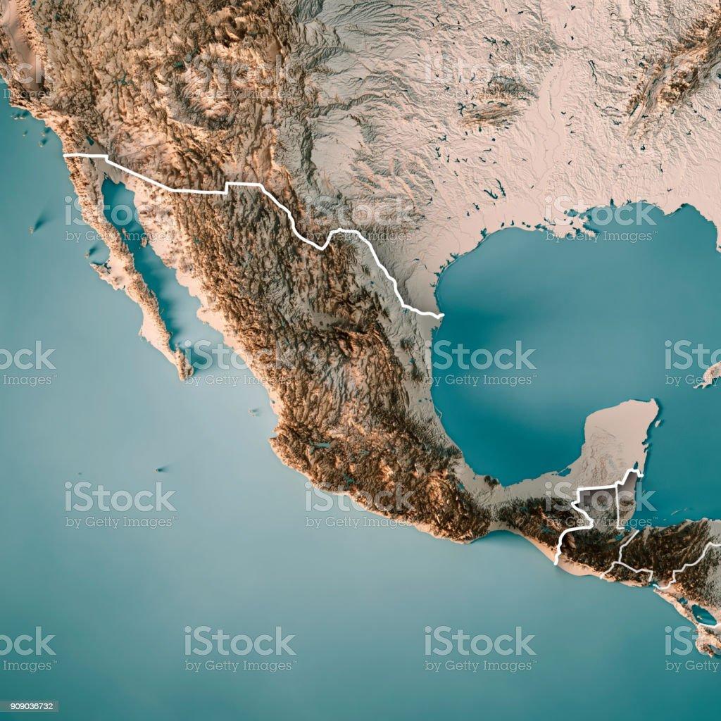 Neutrale Grenze zu Mexiko 3D Render topographische Karte – Foto