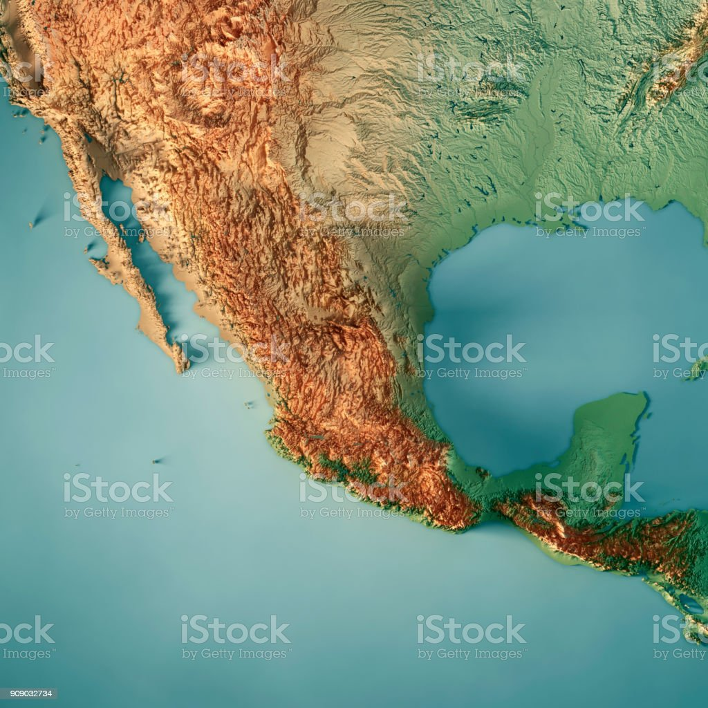 Mexico 3d Render Topographic Map Stock Photo - Download ...