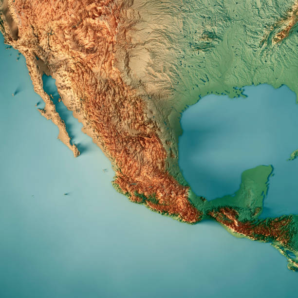 Mexico 3D Render Topographic Map 3D Render of a Topographic Map of Mexico, Central America. All source data is in the public domain. Color texture: Made with Natural Earth.  http://www.naturalearthdata.com/downloads/10m-raster-data/10m-cross-blend-hypso/ Relief texture and Rivers: SRTM data courtesy of USGS. URL of source image:  https://e4ftl01.cr.usgs.gov//MODV6_Dal_D/SRTM/SRTMGL1.003/2000.02.11/ Water texture: SRTM Water Body SWDB: https://dds.cr.usgs.gov/srtm/version2_1/SWBD/ central america stock pictures, royalty-free photos & images
