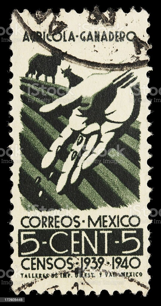 1939 Mexico agriculture stamp royalty-free stock photo