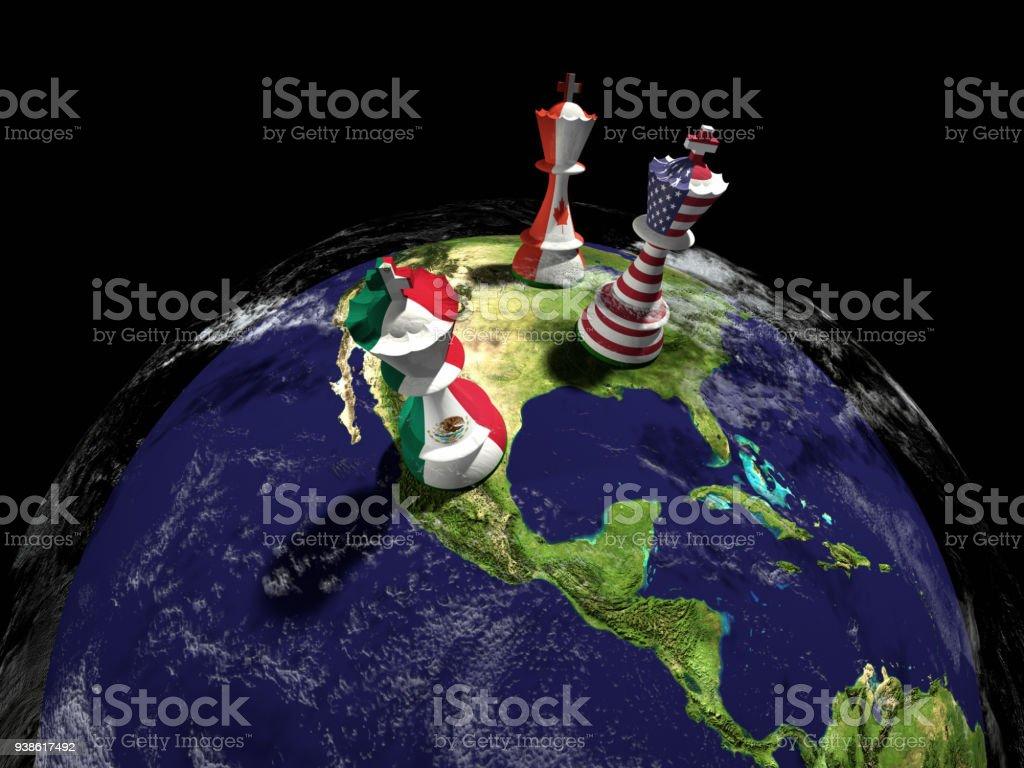 USA, Mexico and Canada Chess Globe stock photo