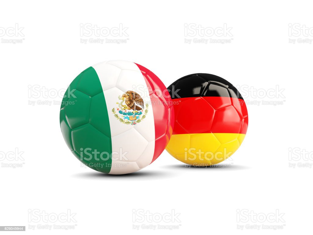Mexico and Germany soccer balls isolated on white background stock photo
