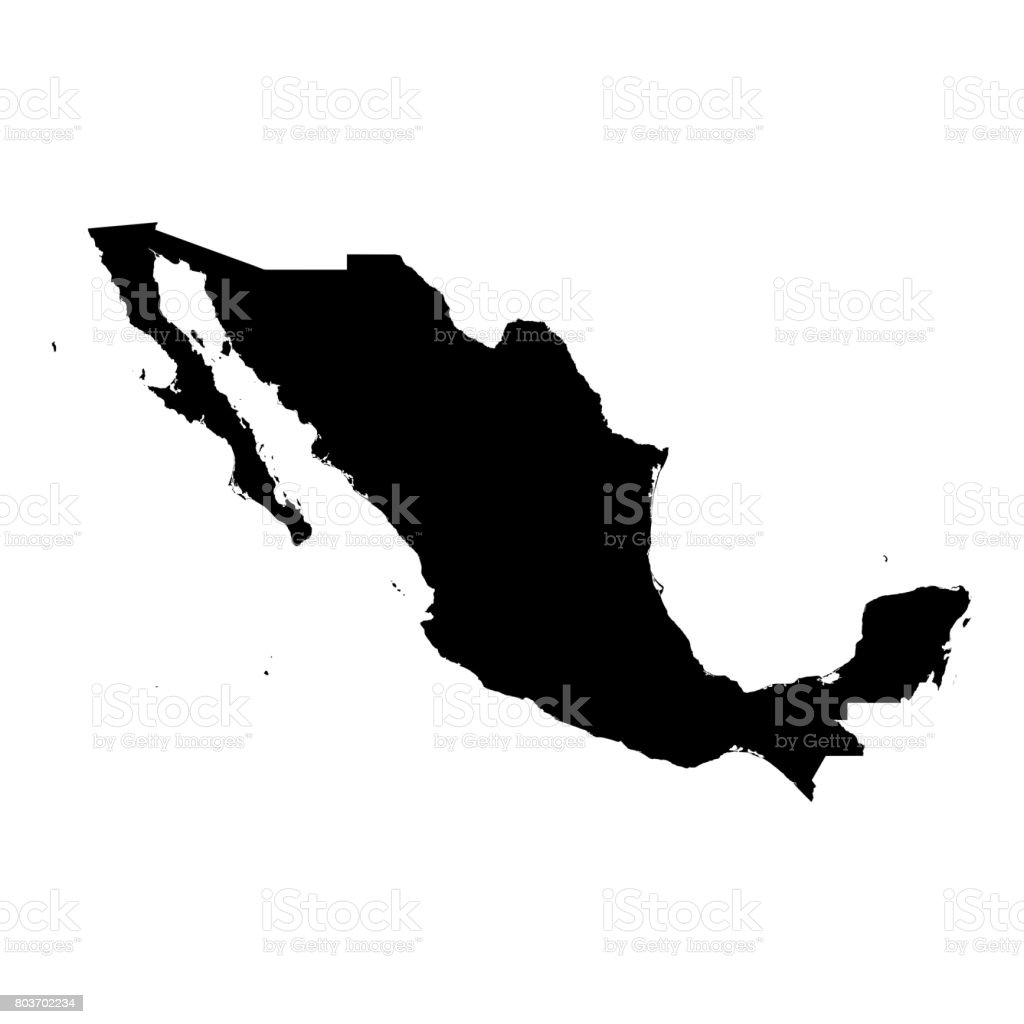 Mexico Black Silhouette Map Outline Isolated on White 3D Illustration stock photo