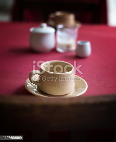 Mexico: Breakfast Cup and Saucer on Red Tablecloth