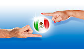 Mexico button mexican flag floating between with human hands