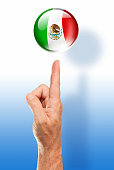 Mexico button mexican flag pointing with human hand