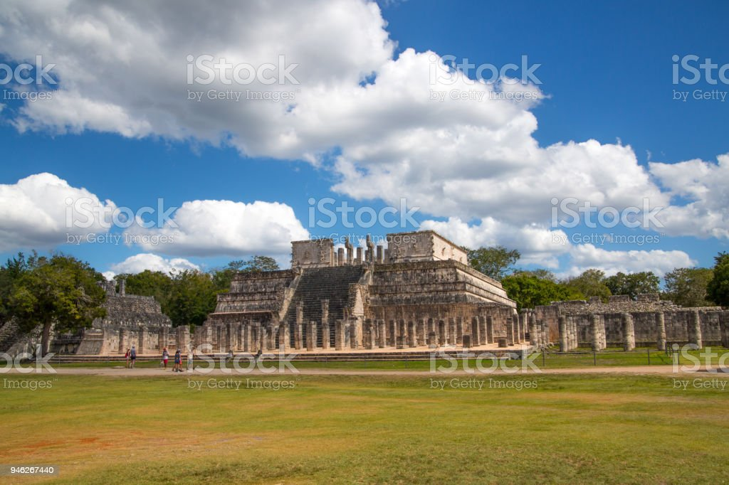 Mexico, Chichen Itzá, Yucatán. Temple of the Warriors with One Thousand columns gallery. stock photo