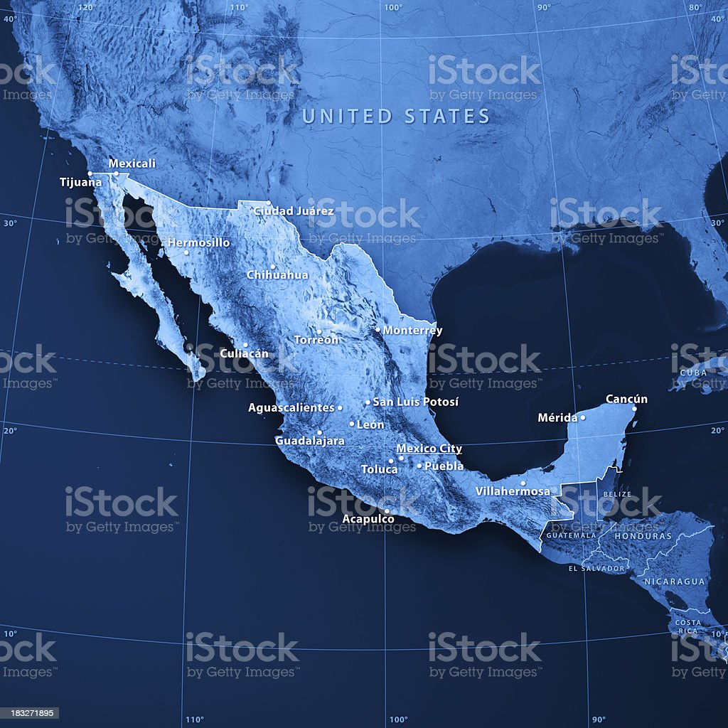 Mexico Cities Topographic Map Stock Photo - Download Image ...