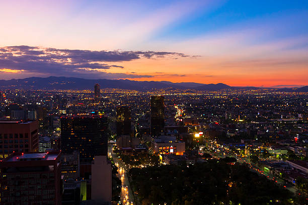 Mexico city at sunset stock photo