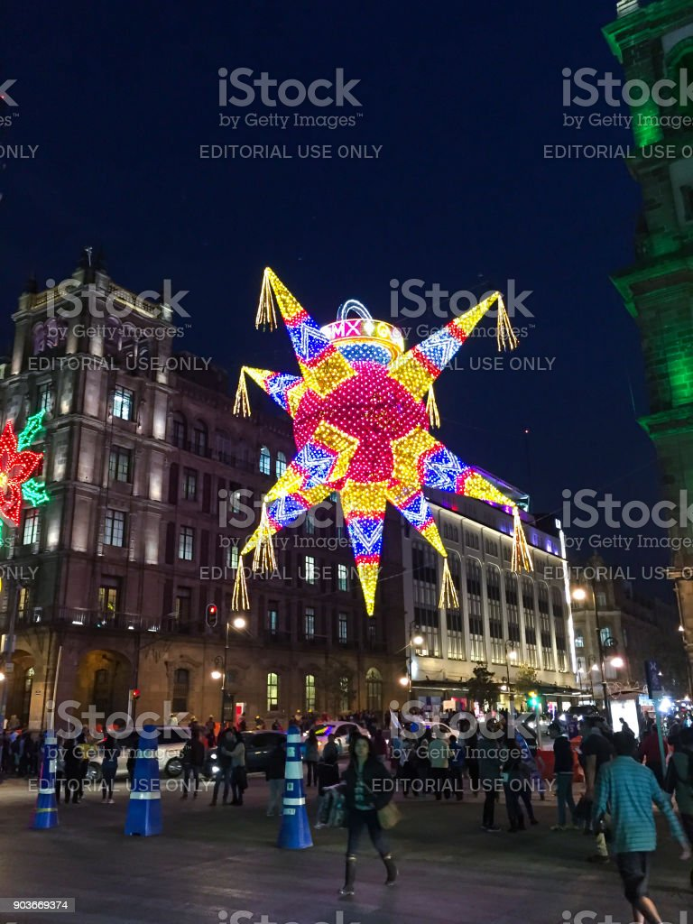 mexico city christmas decorations royalty free stock photo