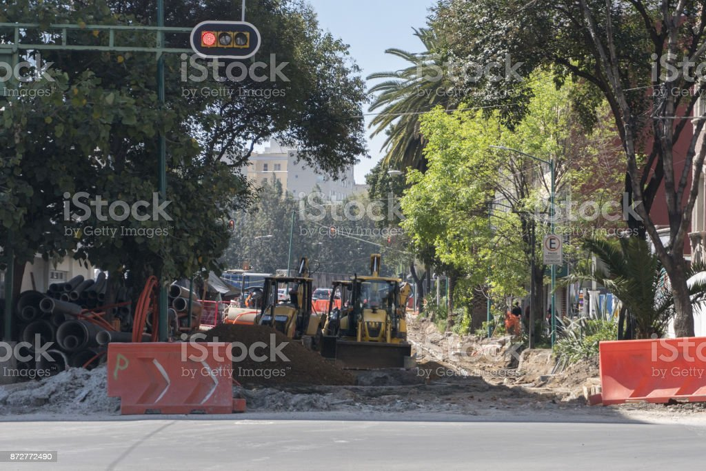 Mexico City damaged building after 2017 earthquake stock photo